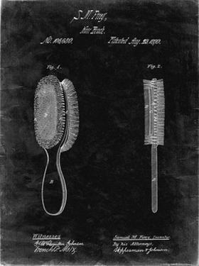 PP344-Black Grunge Vintage Hair Brush Patent Poster by Cole Borders