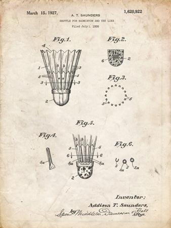 PP345-Vintage Parchment Vintage Badminton Shuttle Patent Poster by Cole Borders