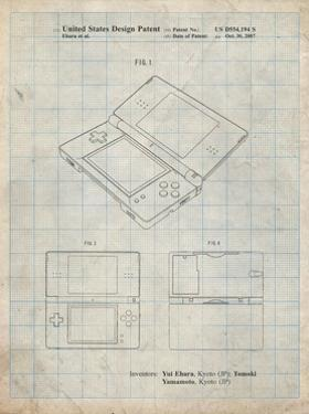 PP346-Antique Grid Parchment Nintendo DS Patent Poster by Cole Borders