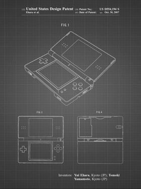 PP346-Black Grid Nintendo DS Patent Poster by Cole Borders