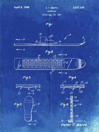 PP358-Faded Blueprint Berta Magnetic Boot Snowboard Patent Poster