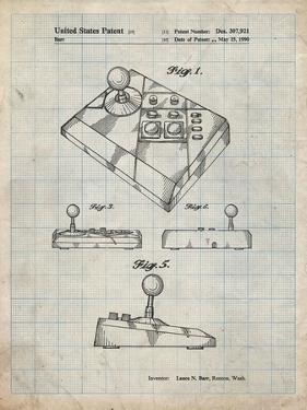 PP374-Antique Grid Parchment Nintendo Joystick Patent Poster by Cole Borders