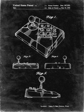 PP374-Black Grunge Nintendo Joystick Patent Poster by Cole Borders