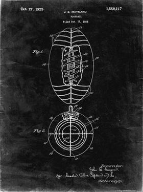 PP379-Black Grunge Football Game Ball 1925 Patent Poster by Cole Borders