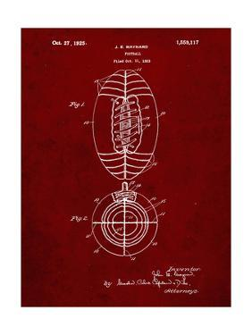 PP379-Burgundy Football Game Ball 1925 Patent Poster by Cole Borders