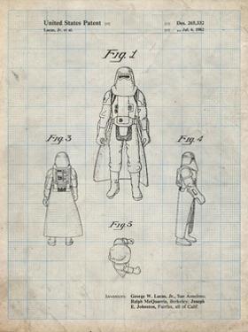 PP380-Antique Grid Parchment Star Wars Snowtrooper Patent Poster by Cole Borders