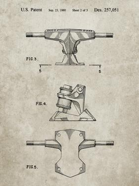 PP385-Sandstone Skateboard Trucks Patent Poster by Cole Borders