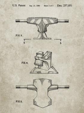 PP385-Sandstone Skateboard Trucks Patent Poster by Cole Borders