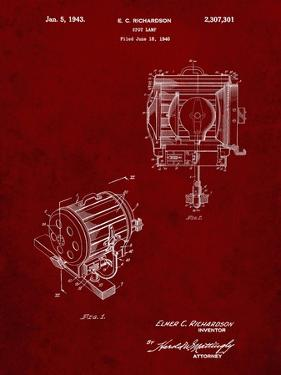 PP387-Burgundy Movie Set Lighting Patent Poster by Cole Borders