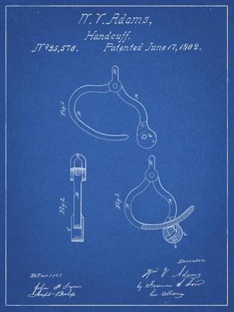PP389-Blueprint Vintage Police Handcuffs Patent Poster by Cole Borders
