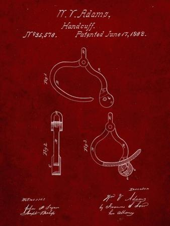 PP389-Burgundy Vintage Police Handcuffs Patent Poster by Cole Borders