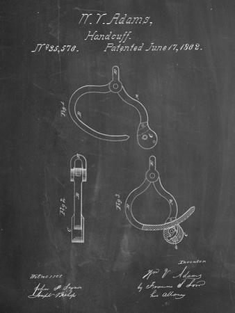 PP389-Chalkboard Vintage Police Handcuffs Patent Poster by Cole Borders