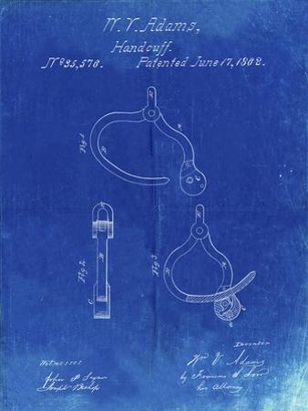 PP389-Faded Blueprint Vintage Police Handcuffs Patent Poster by Cole Borders