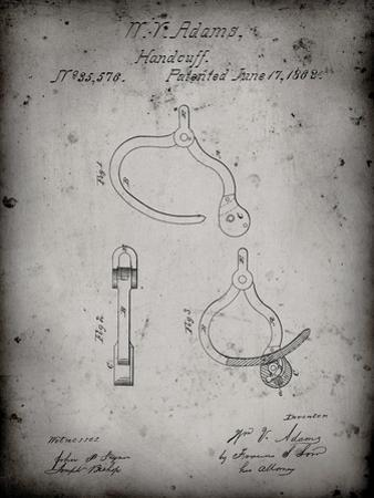 PP389-Faded Grey Vintage Police Handcuffs Patent Poster by Cole Borders