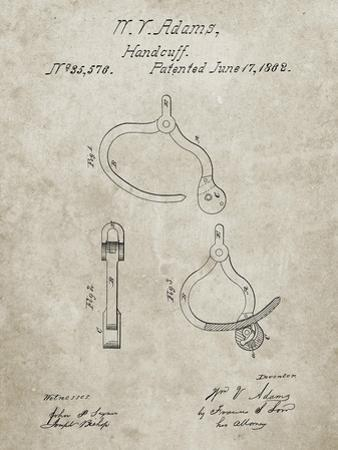 PP389-Sandstone Vintage Police Handcuffs Patent Poster by Cole Borders