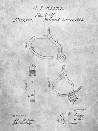 PP389-Slate Vintage Police Handcuffs Patent Poster by Cole Borders