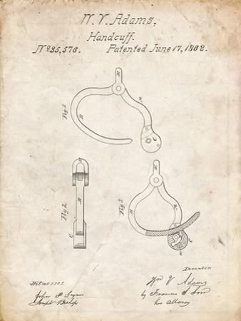 PP389-Vintage Parchment Vintage Police Handcuffs Patent Poster by Cole Borders