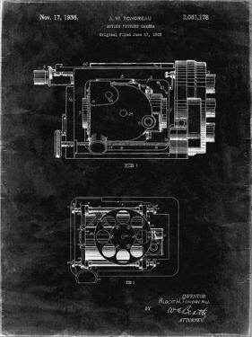 PP390-Black Grunge Motion Picture Camera 1932 Patent Poster by Cole Borders