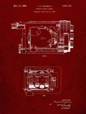 PP390-Burgundy Motion Picture Camera 1932 Patent Poster by Cole Borders