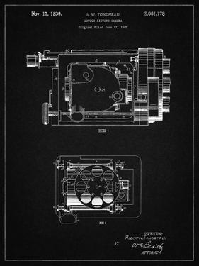 PP390-Vintage Black Motion Picture Camera 1932 Patent Poster by Cole Borders