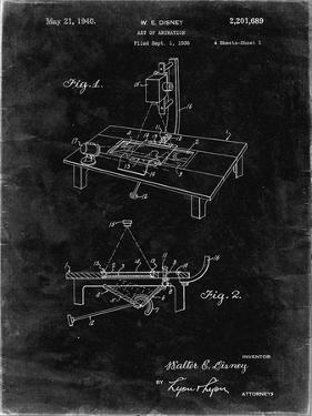 PP403-Black Grunge Disney Multi Plane Camera Patent Poster by Cole Borders