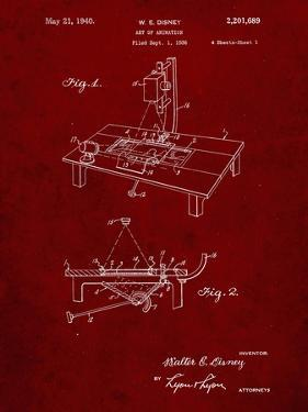 PP403-Burgundy Disney Multi Plane Camera Patent Poster by Cole Borders