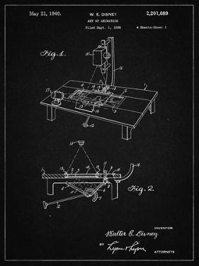 PP403-Vintage Black Disney Multi Plane Camera Patent Poster by Cole Borders