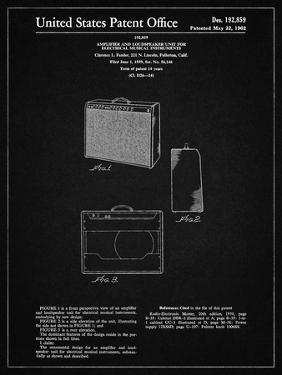 PP405-Vintage Black Fender 1962 Pro Amp Patent Poster by Cole Borders