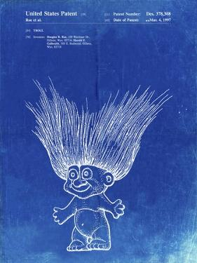 PP406-Faded Blueprint Troll Doll Patent Poster by Cole Borders