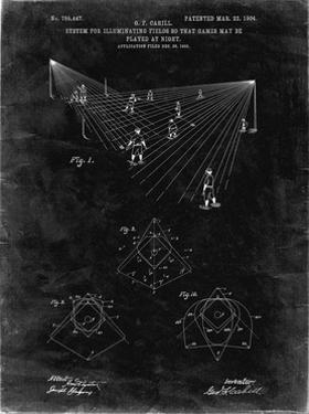 PP416-Black Grunge Baseball Field Lights Patent Poster by Cole Borders
