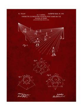 PP416-Burgundy Baseball Field Lights Patent Poster by Cole Borders