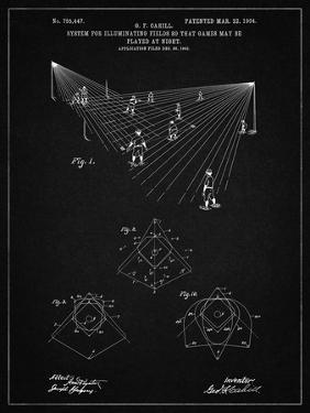 PP416-Vintage Black Baseball Field Lights Patent Poster by Cole Borders