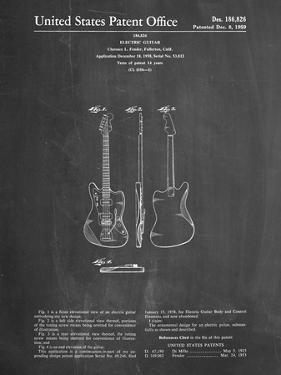 PP417-Chalkboard Fender Jazzmaster Guitar Patent Poster by Cole Borders