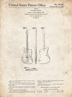 PP417-Vintage Parchment Fender Jazzmaster Guitar Patent Poster by Cole Borders