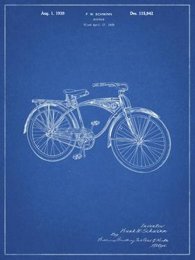 PP446-Blueprint Schwinn 1939 BC117 Bicycle Patent Poster by Cole Borders