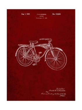PP446-Burgundy Schwinn 1939 BC117 Bicycle Patent Poster by Cole Borders