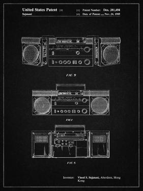 PP448-Vintage Black Hitachi Boom Box Patent Poster by Cole Borders