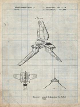 PP449-Antique Grid Parchment Star Wars Lambda Class T-4a Shuttle Patent Poster by Cole Borders