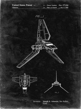 PP449-Black Grunge Star Wars Lambda Class T-4a Shuttle Patent Poster by Cole Borders