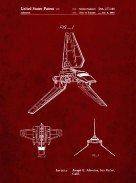 PP449-Burgundy Star Wars Lambda Class T-4a Shuttle Patent Poster by Cole Borders