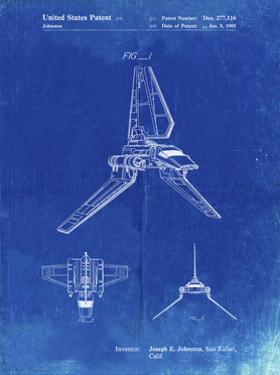 PP449-Faded Blueprint Star Wars Lambda Class T-4a Shuttle Patent Poster by Cole Borders