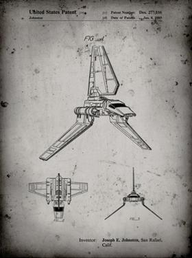 PP449-Faded Grey Star Wars Lambda Class T-4a Shuttle Patent Poster by Cole Borders