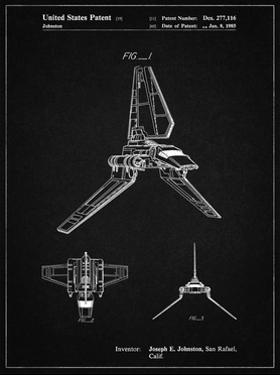 PP449-Vintage Black Star Wars Lambda Class T-4a Shuttle Patent Poster by Cole Borders