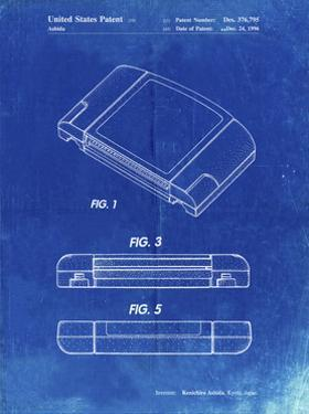 PP451-Faded Blueprint Nintendo 64 Game Cartridge Patent Poster by Cole Borders
