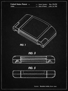 PP451-Vintage Black Nintendo 64 Game Cartridge Patent Poster by Cole Borders