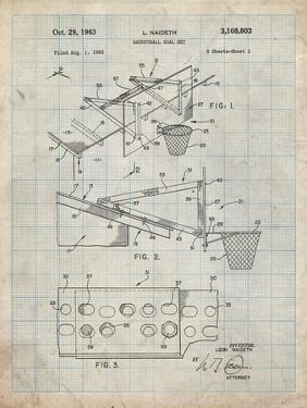 PP454-Antique Grid Parchment Basketball Adjustable Goal 1962 Patent Poster by Cole Borders