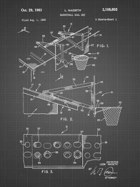 PP454-Black Grid Basketball Adjustable Goal 1962 Patent Poster by Cole Borders