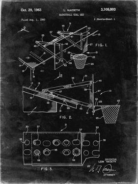 PP454-Black Grunge Basketball Adjustable Goal 1962 Patent Poster by Cole Borders
