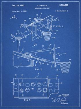 PP454-Blueprint Basketball Adjustable Goal 1962 Patent Poster by Cole Borders