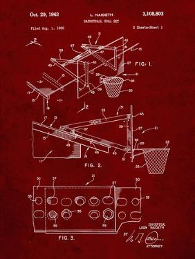 PP454-Burgundy Basketball Adjustable Goal 1962 Patent Poster by Cole Borders